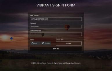 Vibrant Signin Form Flat Responsive widget Template