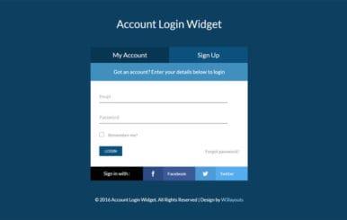 Account Login Widget Flat Responsive Widget Template