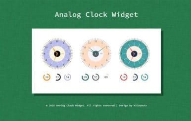 Analog Clock Widget Flat Responsive Widget Template