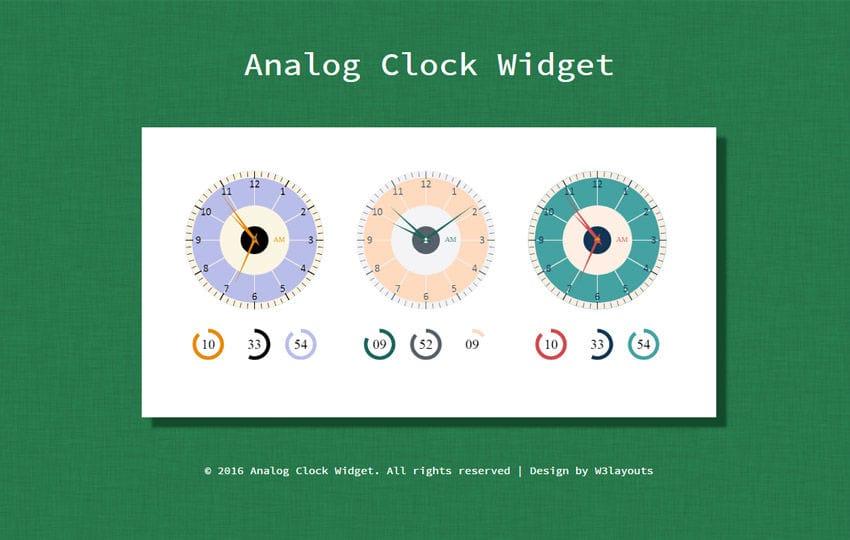 Analog Clock Widget Flat Responsive Widget Template Mobile website template Free