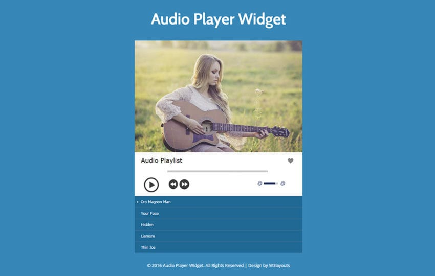 Audio Player Widget Responsive Widget Template Mobile website template Free