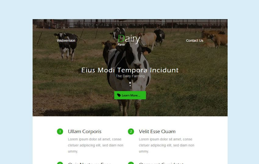 Dairy Farm An Agriculture Category Email Template Mobile website template Free