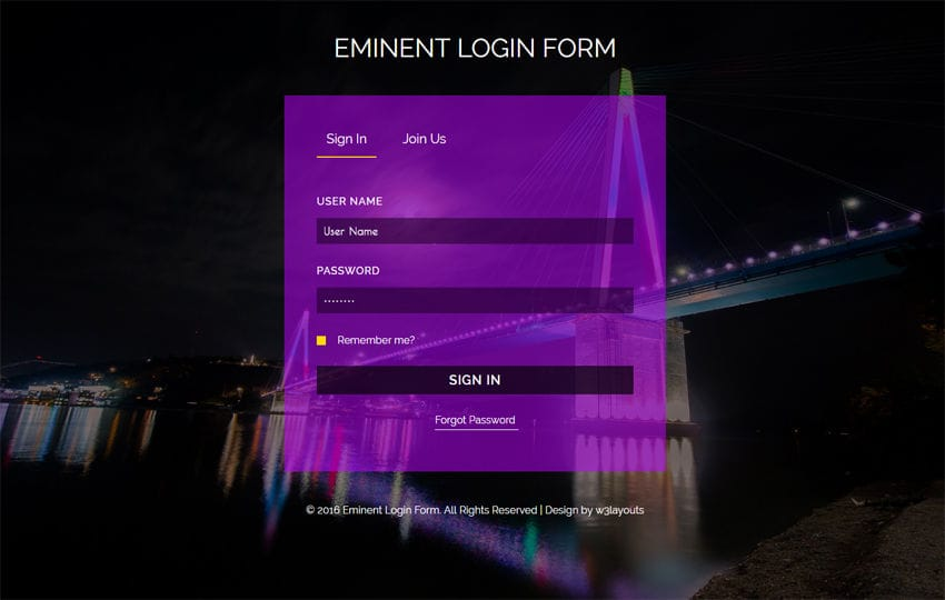 Eminent Login Form Flat Responsive widget Template Mobile website template Free