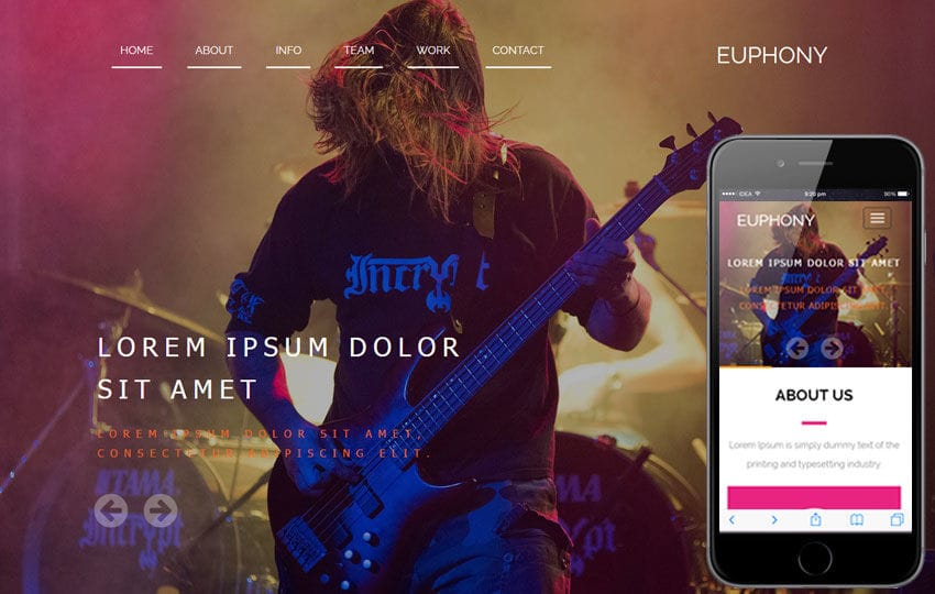 Euphony A Entertainment Category Flat Bootstrap Responsive Web Template Mobile website template Free