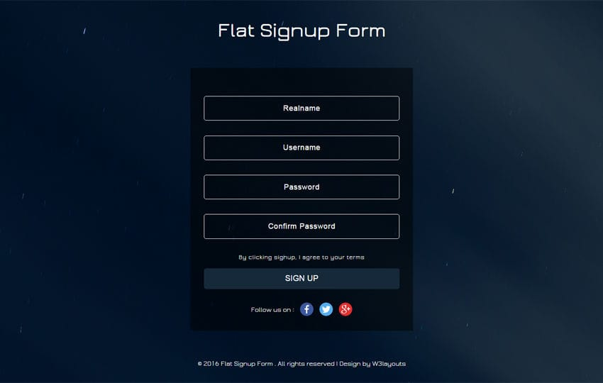 Flat Signup Form Flat Responsive Widget Template Mobile website template Free