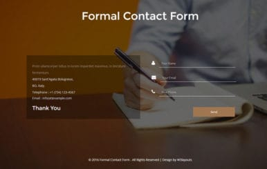 Formal Contact Form a Flat Responsive Widget Template