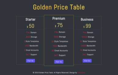 Golden Price Table Responsive Widget Template