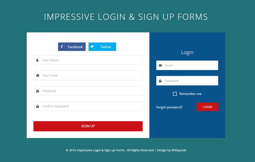 Impressive Login and Sign up Forms Flat Responsive Widget Template