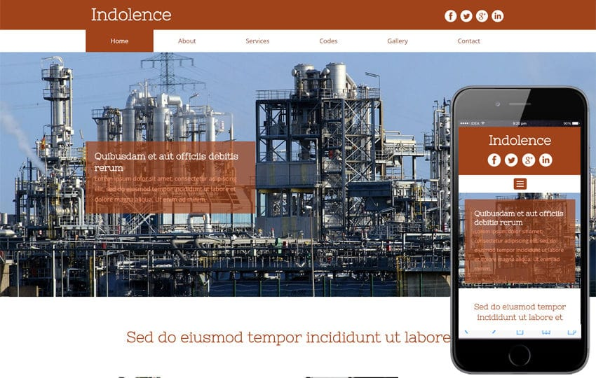 Indolence an Industrial category Flat bootstrap Responsive  Web Template Mobile website template Free