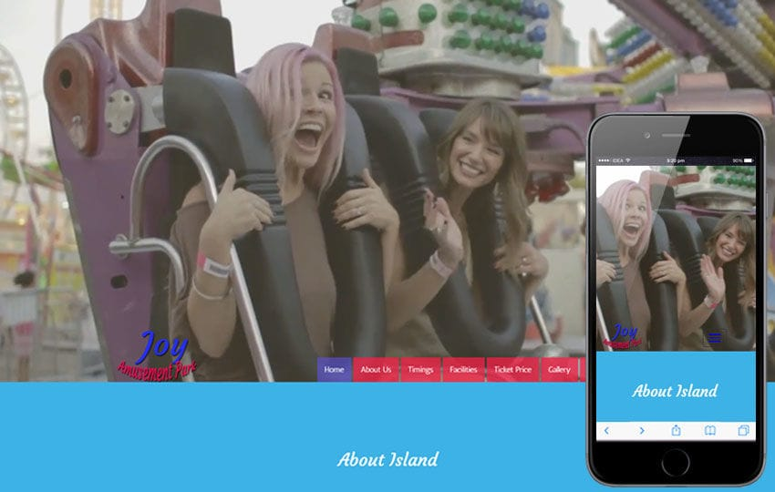 Joy Amusement Park An Entertainment Category Bootstrap Responsive Web Template Mobile website template Free
