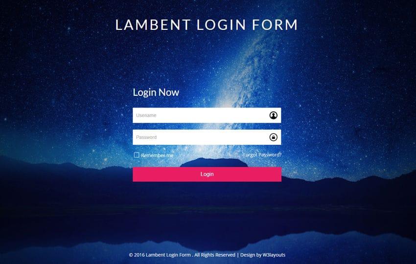 Lambent Login Form a Flat Responsive Widget Template