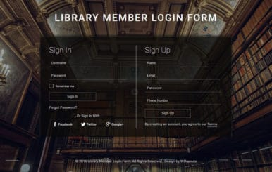 Library Member Login Form A Flat Responsive Widget Template