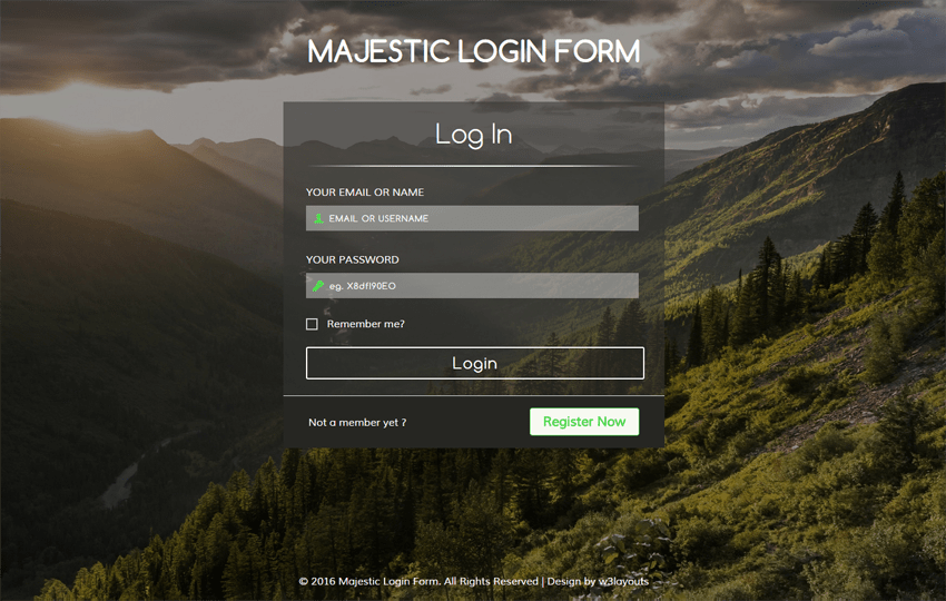 Majestic Login Form Flat Responsive widget Template Mobile website template Free