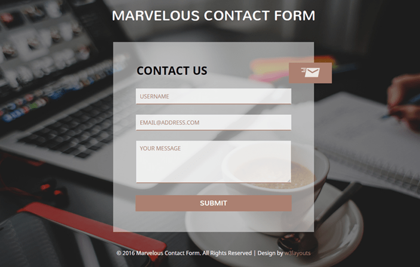 Marvelous Contact Form Flat Responsive widget Template