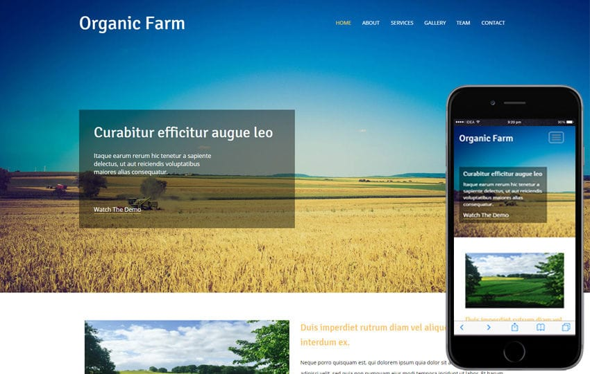 Organic Farm an Agriculture Category Flat Bootstrap Responsive Web Template Mobile website template Free