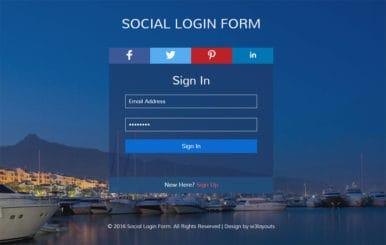 Social Login Form Flat Responsive widget Template