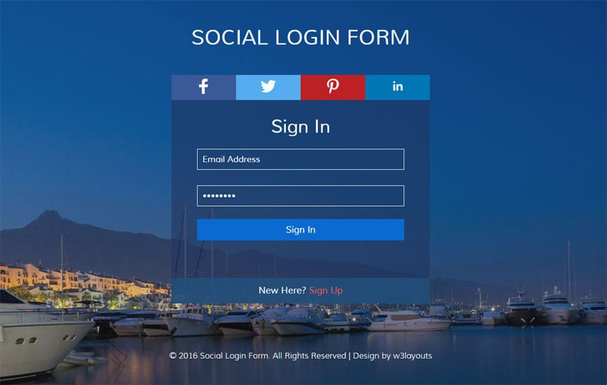 Social Login Form Flat Responsive widget Template Mobile website template Free