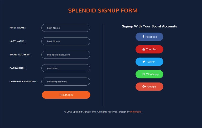 Splendid Signup Form Flat Responsive widget Template Mobile website template Free