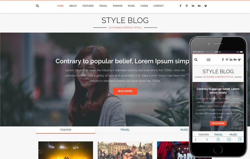 Style Blog a Blogging Category Flat Bootstrap Responsive Web Template Mobile website template Free