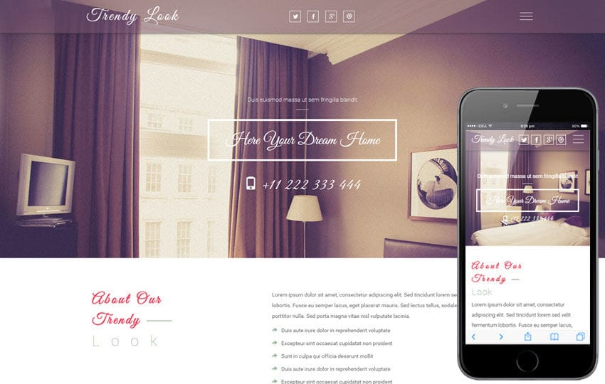 Trendy Look a Interior Category Flat Bootstrap Responsive web Template