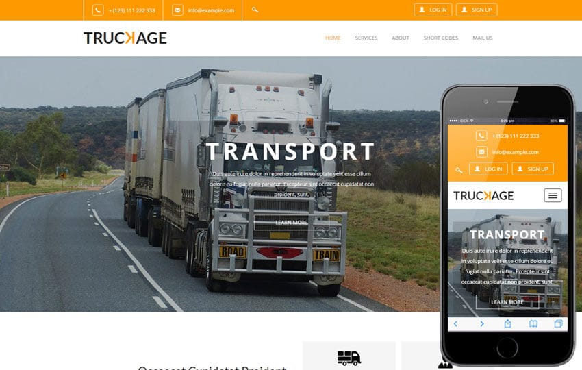 Truckage A Transportation Category Flat Bootstrap Responsive Web Template Mobile website template Free