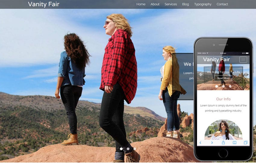 Vanity Fair a Fashion Category Flat Bootstrap Responsive Web Template Mobile website template Free