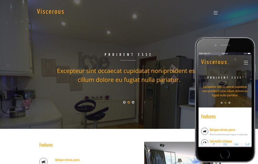 Viscerous an Interior Category Flat Bootstrap Responsive Web Template Mobile website template Free