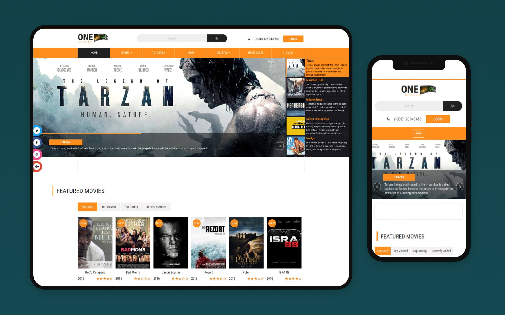1 Movies Website Template – Bootstrap Movie Template
