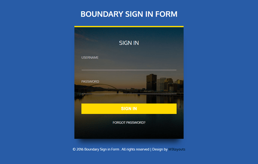 Boundary Sign in Form Flat Responsive Widget Template