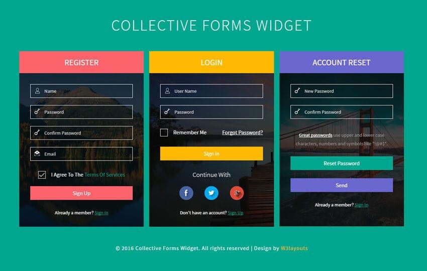 Collective Forms Widget Flat Responsive Widget Template