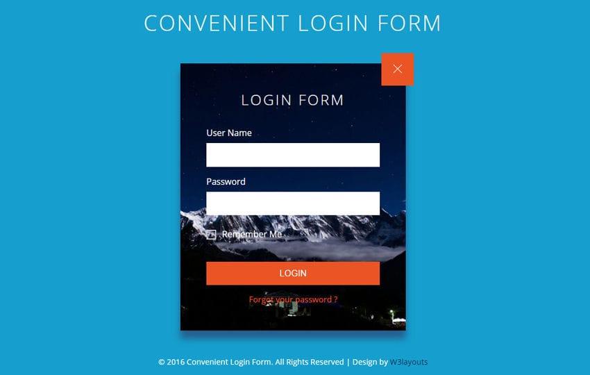 Convenient Login Form Flat Responsive Widget Template Mobile website template Free