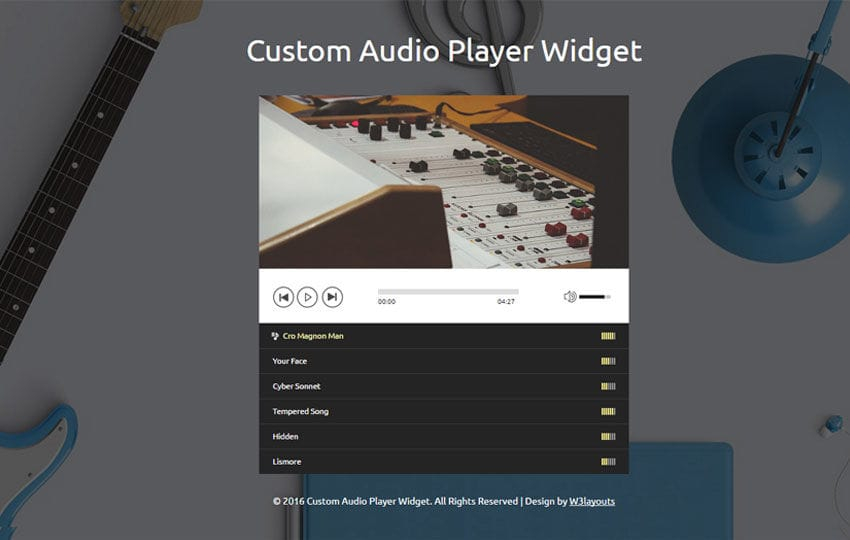 Custom Audio Player Widget Responsive Widget Template Mobile website template Free