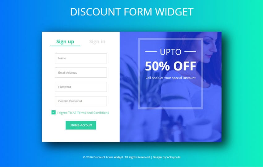 Discount Form Widget A Flat Responsive Widget Template Mobile website template Free