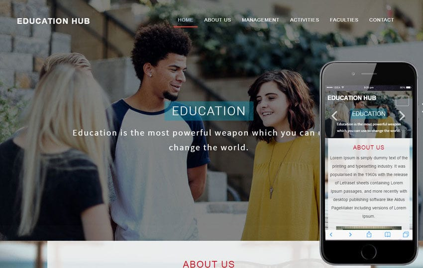 Education Hub An Education Category Bootstrap Responsive  Web Template Mobile website template Free