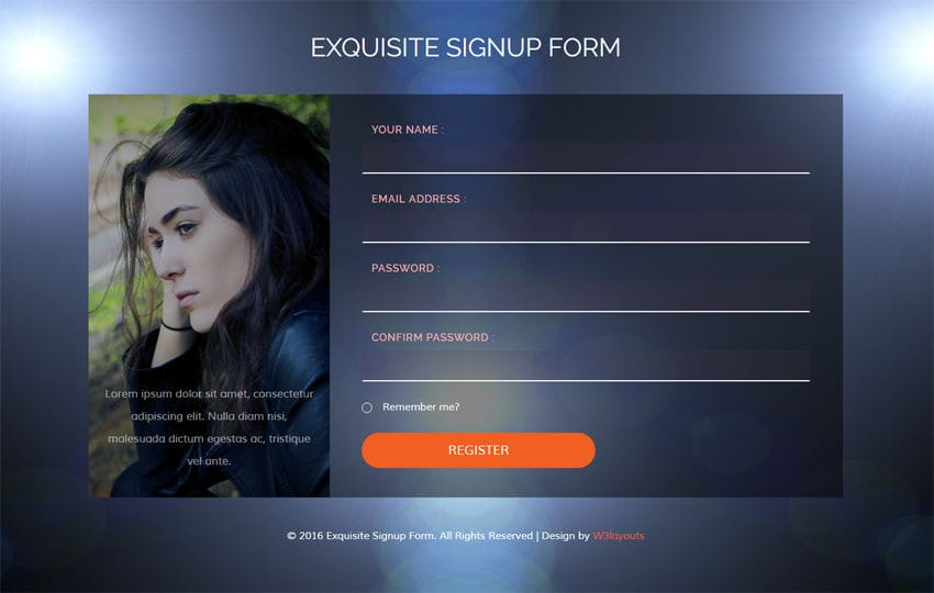 Exquisite Signup Form Flat Responsive widget Template