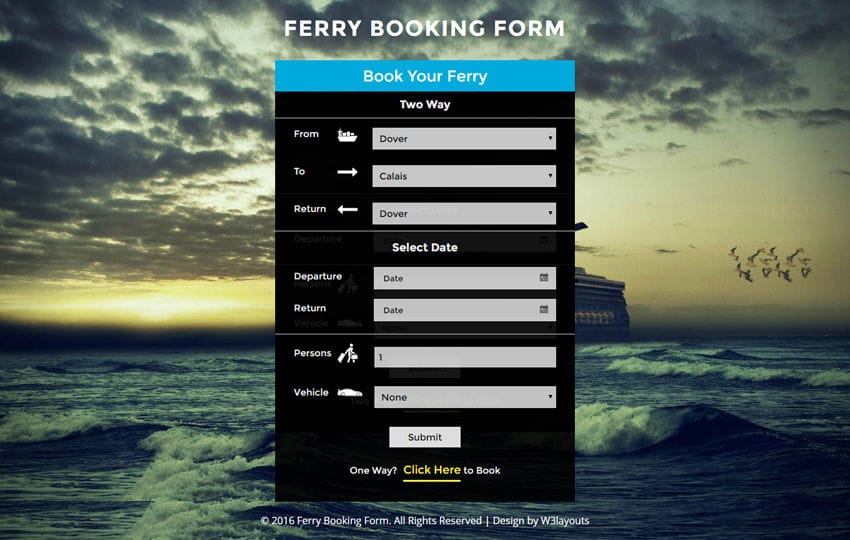 Ferry Booking Form Widget Responsive Widget Template Mobile website template Free