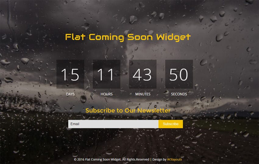 Flat Coming Soon Widget Flat Responsive Widget Template Mobile website template Free