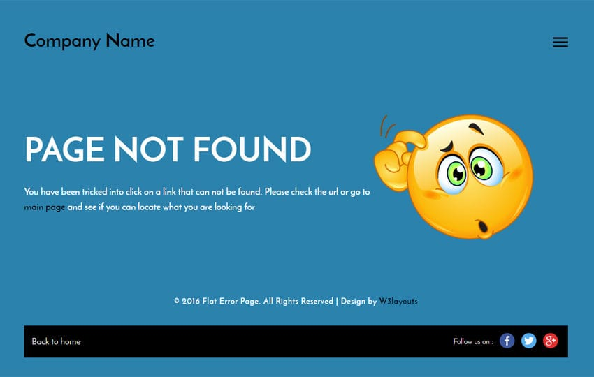 Flat Error Page a Flat Responsive Widget Template Mobile website template Free