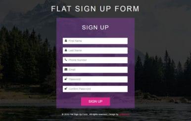 Flat Sign Up Form Responsive Widget Template