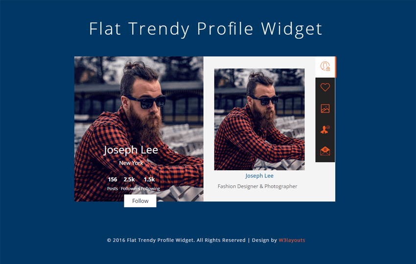 Flat Trendy Profile Widget A Flat Responsive Widget Template Mobile website template Free