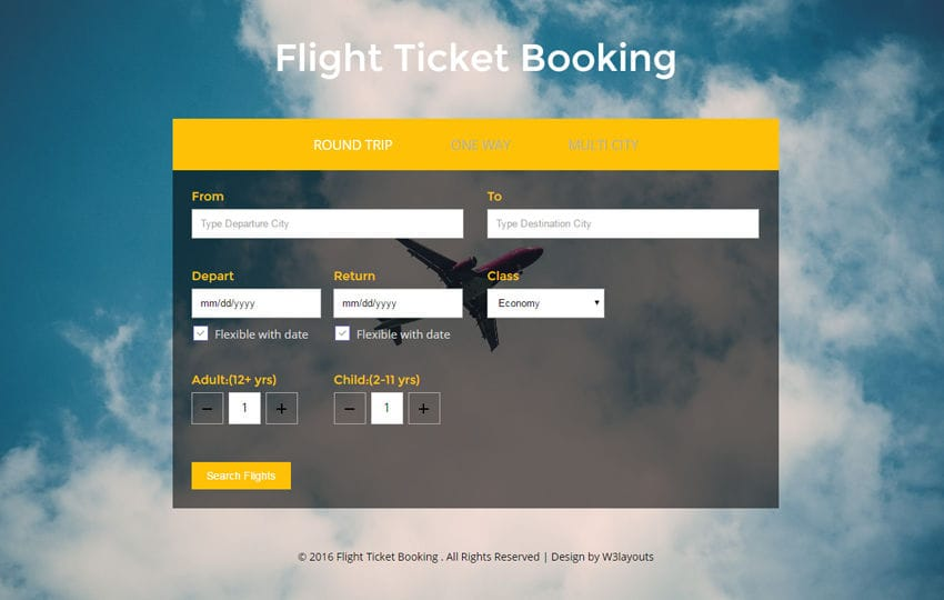 Flight Ticket Booking HTML Template | Free Download - W3layouts