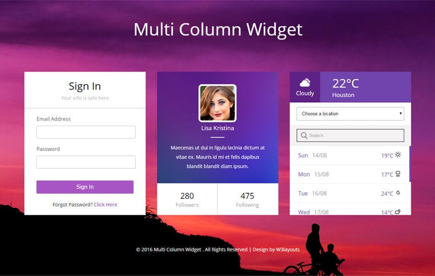 Multi Column Widget Flat Responsive Widget Template Mobile website template Free
