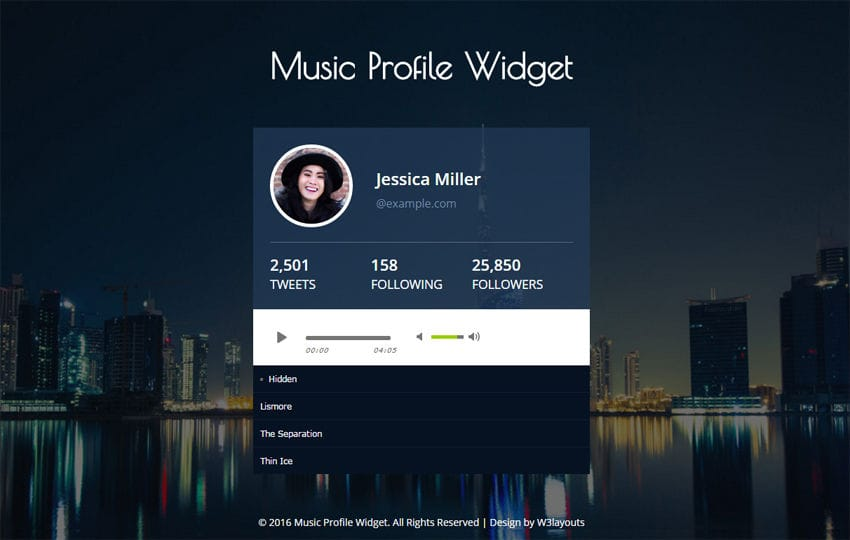 Music Profile Widget Responsive Widget Template Mobile website template Free
