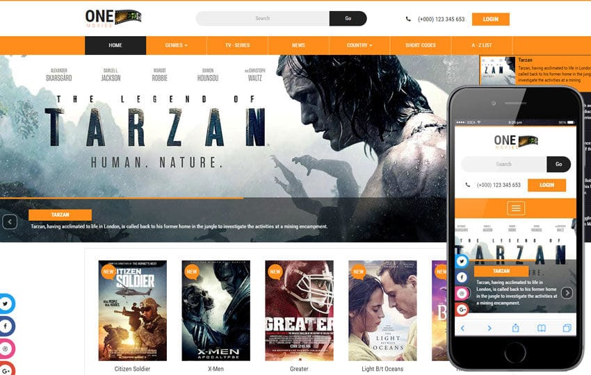 One Movies Website Template – Bootstrap Movie Template Mobile website template Free