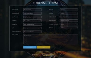 Ordering Form Flat Responsive widget Template