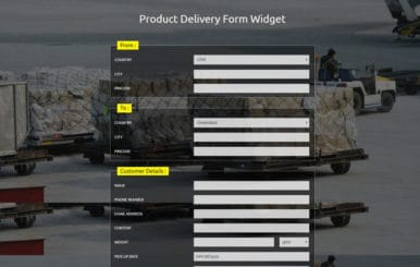 Product Delivery Form Widget Responsive Widget Template