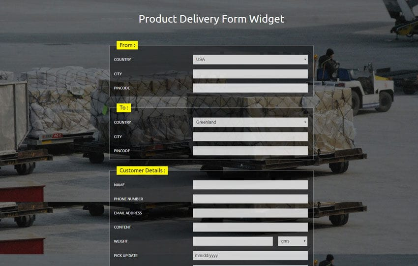 Product Delivery Form Widget Responsive Widget Template Mobile website template Free