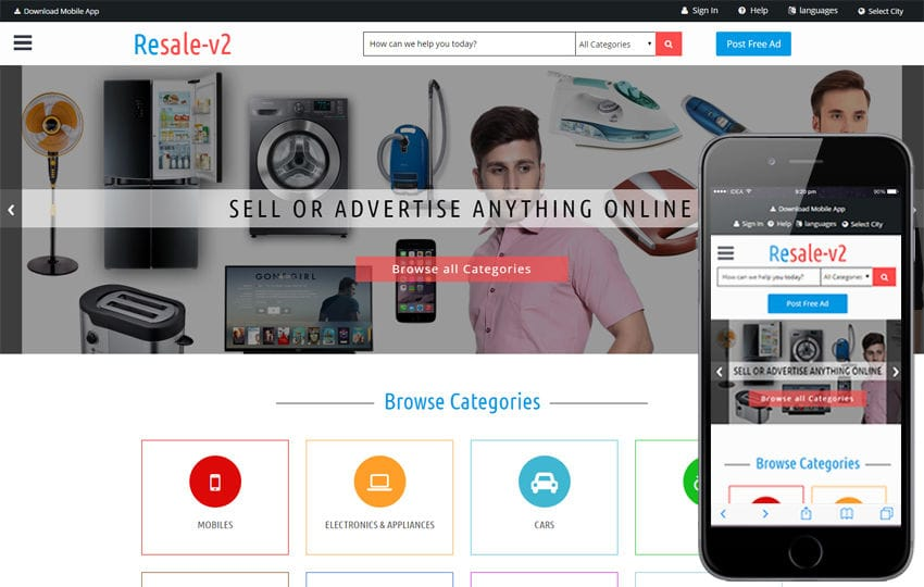 Resale_v2 a Classified ads Category Bootstrap Responsive Web Template Mobile website template Free
