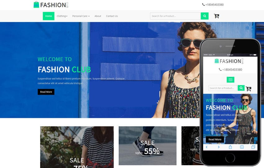 Fashion Club an Ecommerce Online Shopping Bootstrap responsive Web Template Mobile website template Free