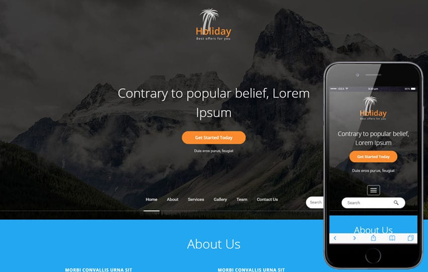 Holiday a Travel Category Bootstrap responsive Web Template Mobile website template Free